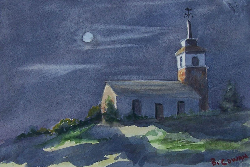 Moonlit Gosport Chapel - by Barbara Cowan